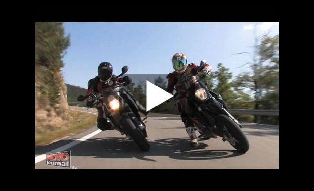 comparatif roadster contre supermotard par moto journal video moto sur tarmo. Black Bedroom Furniture Sets. Home Design Ideas